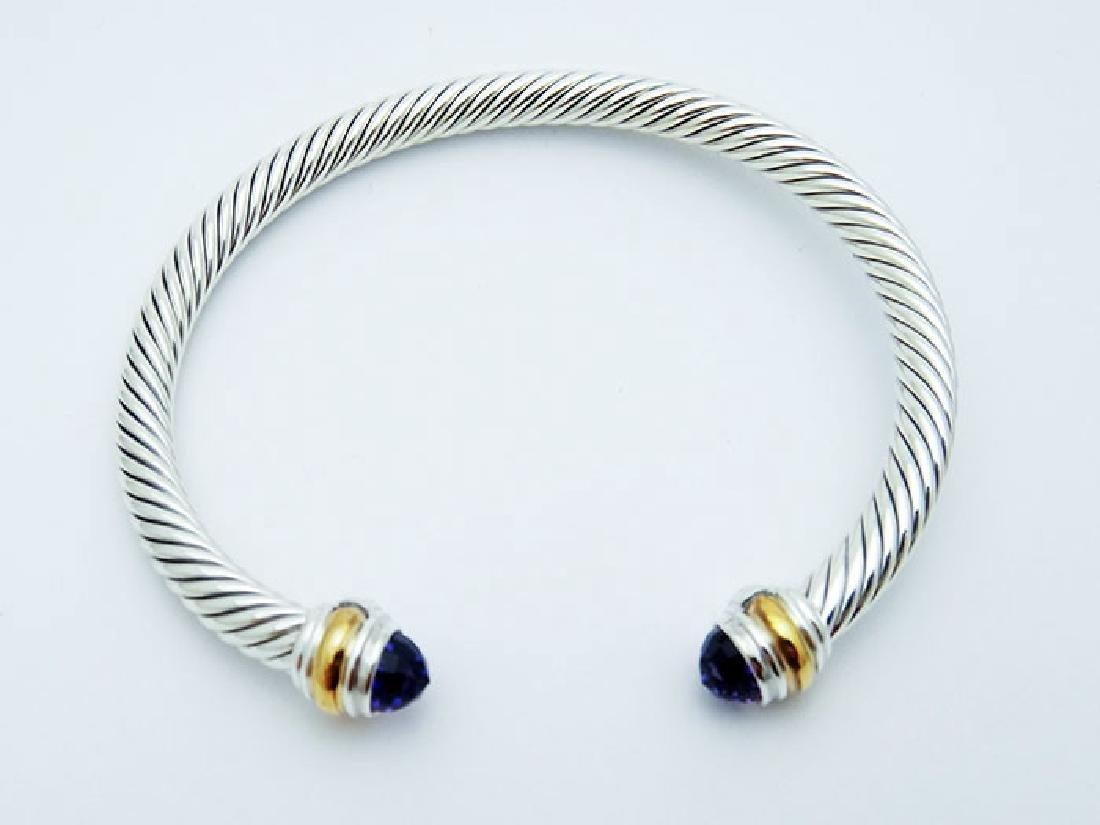 David Yurman 925 Sterling Cable Bracelet Amethyst 14K