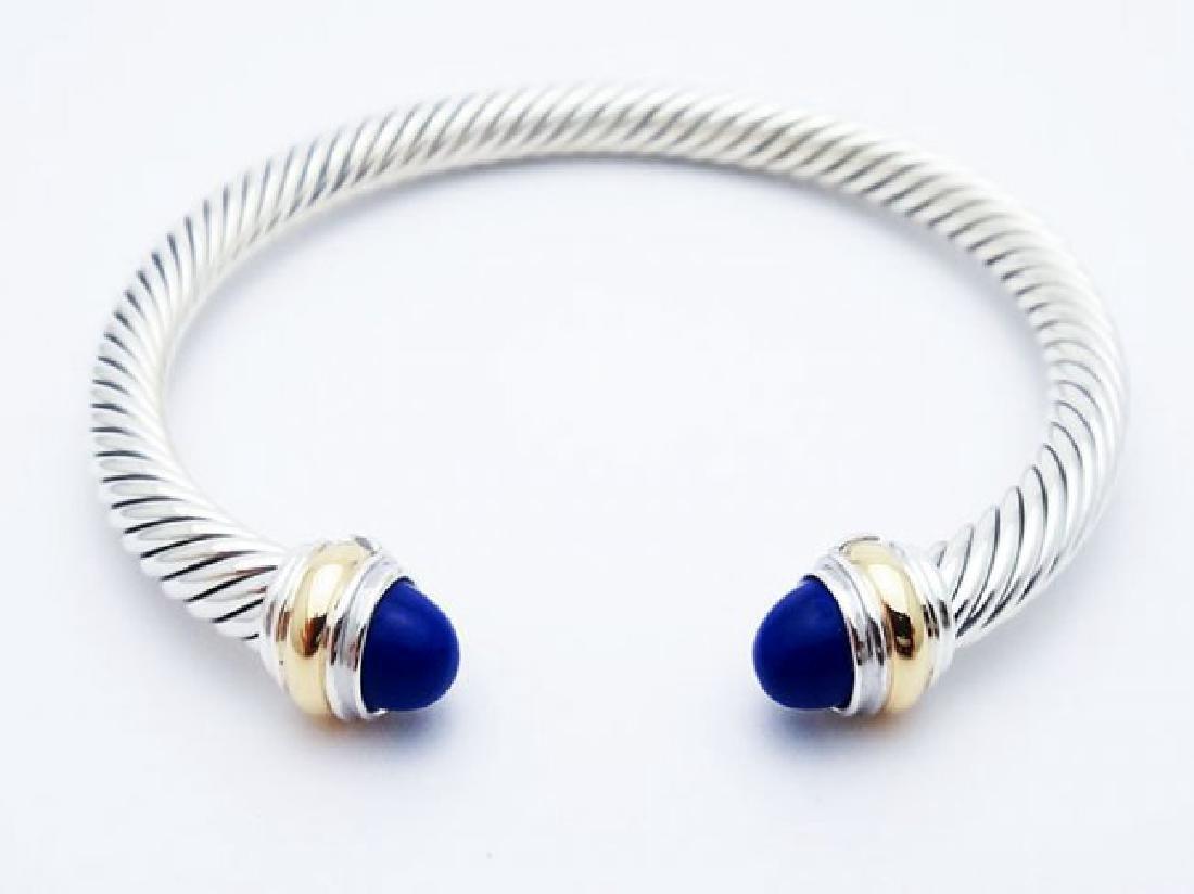 David Yurman 925 Silver Cable Bracelet Lapis Lazuli 14K