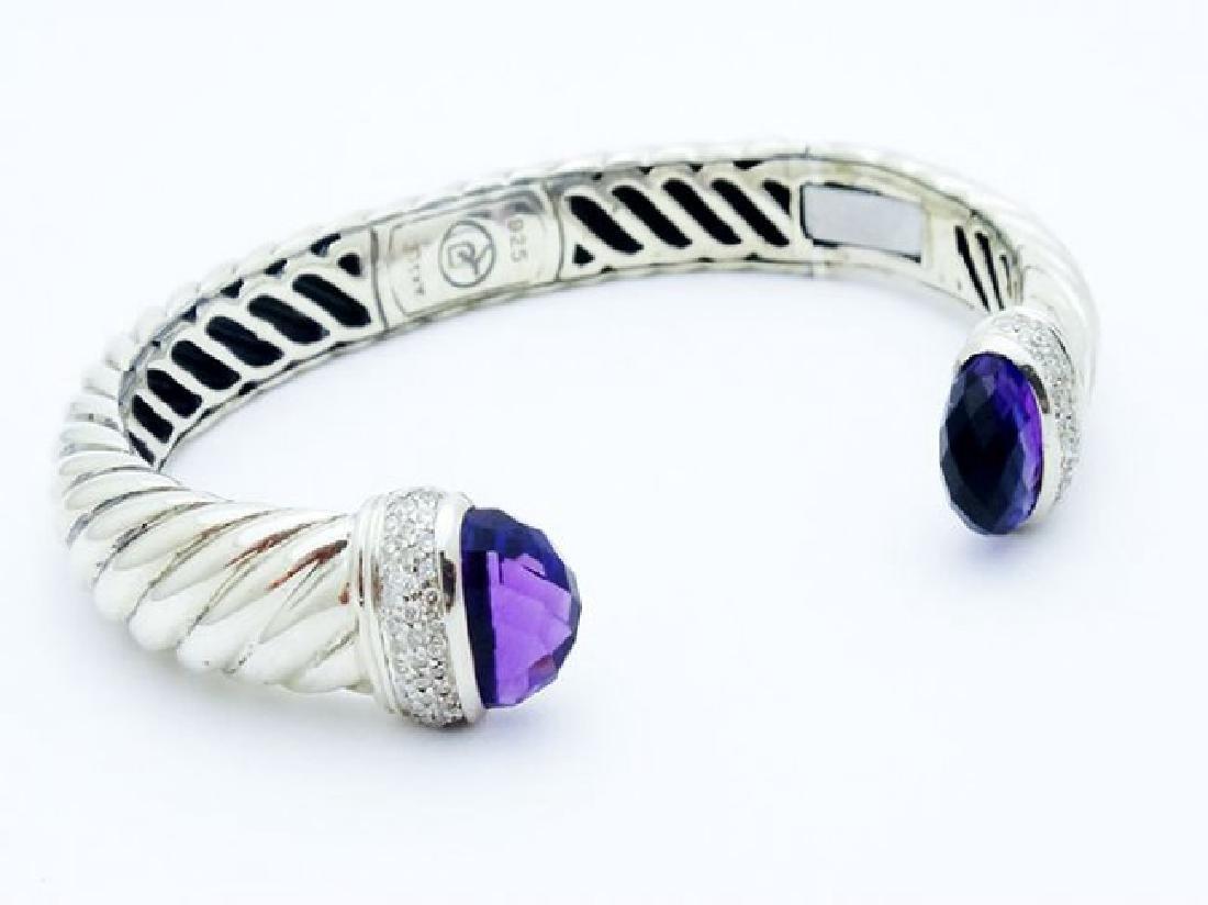 David Yurman 925 Cable Bracelet Amethyst & Diamond