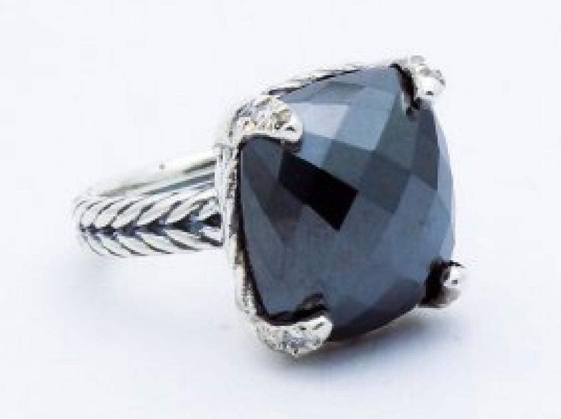 David Yurman 925 Silver Chatelaine Ring Hematine