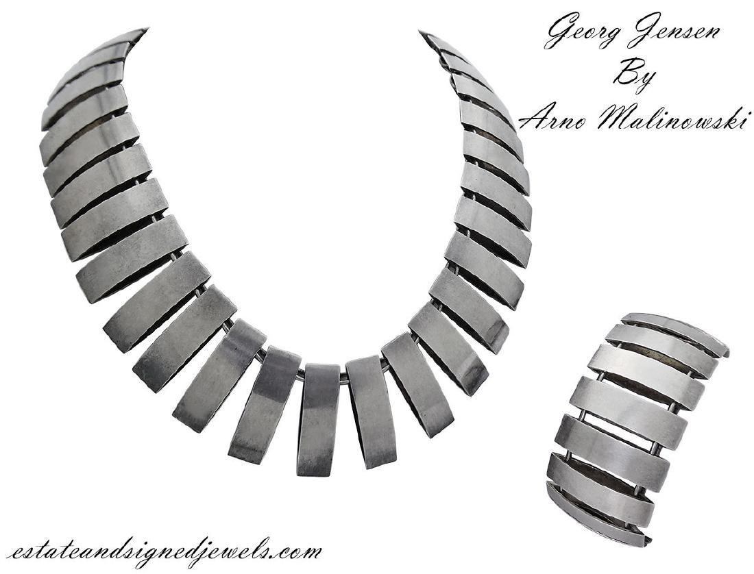 Georg Jensen Sterling Silver Bracelet & Necklace Set By