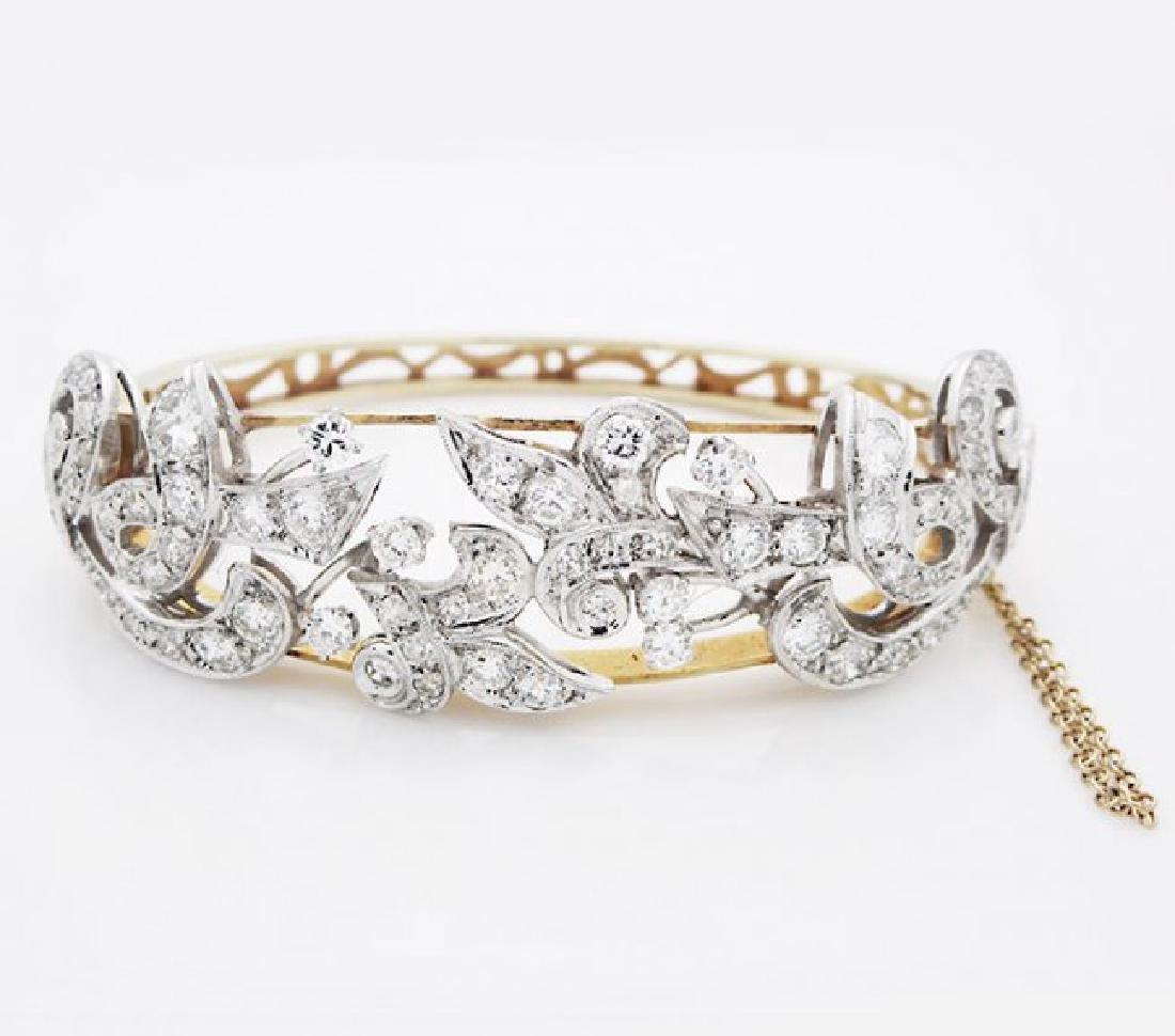 Estate 14 K Yellow Gold 6tcw. Diamond Bracelet