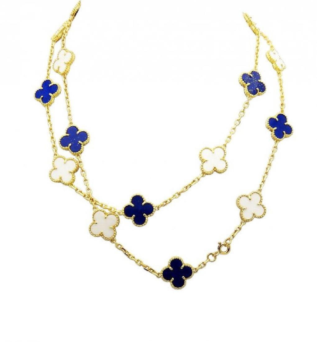 Van Cleef Alahambra 18K Lapis Lazulli & Pearl Necklace