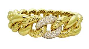 David Yurman 18K  Woven Cable 240tcw Diamond Bracelet