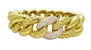David Yurman 18K Woven Cable 2.40tcw Diamond Bracelet