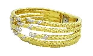 David Yurman 18K Y Gold 2.85tcw Diamond Cuff Bracelet