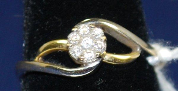 5: LADIES 14KT 2 TONE DIAMOND RING