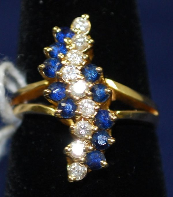6: LADIES 14KT Y.G. SAPPHIRE AND DIAMOND RING