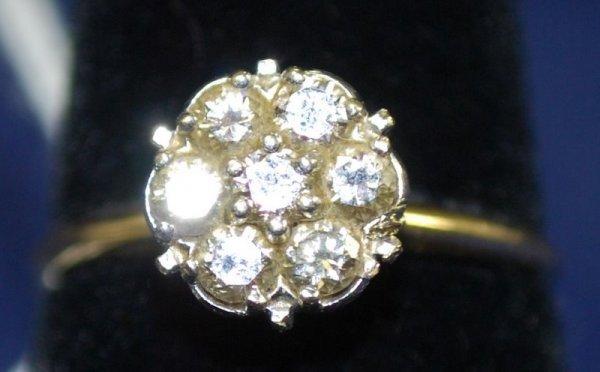 12: LADIES 14KT 2 TONE VINTAGE DIAMOND RING