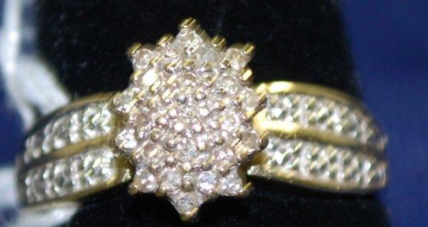 14: LADIES 14KT 2 TONE DIAMOND CLUSTER RING