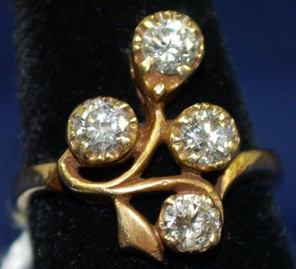 25: 14KT Y.G ESTATE DIAMOND RING