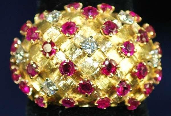 16: 18KT Y.G. TIFFANY RUBY AND DIAMOND RING