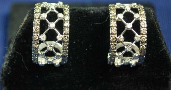 4: 14KT WHITE GOLD DIAMOND EARRINGS