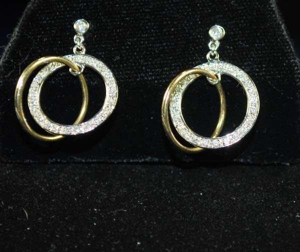 7: 14KT 2 TONE CIRCLE DIAMOND EARRINGS
