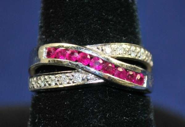 17: 14KT W.G. RUBY AND DIAMOND BAND