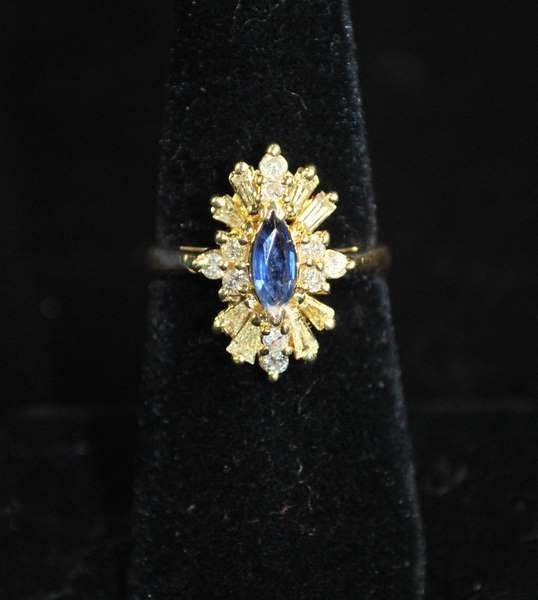 3: 14KT Y.G. SAPPHIRE AND DIAMOND RING