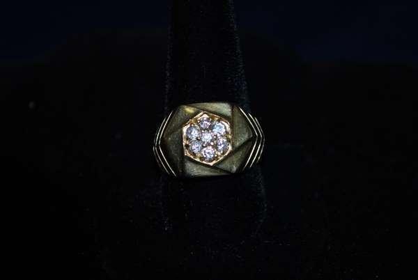 2: MENS 14KT Y.G. 1.00CT DIAMOND RING