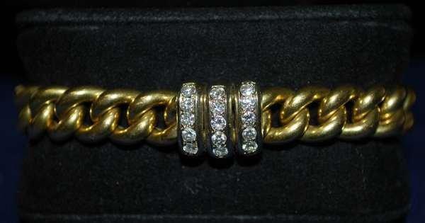 14: 18KT Y.G. .60CT DIAMOND BRACELET