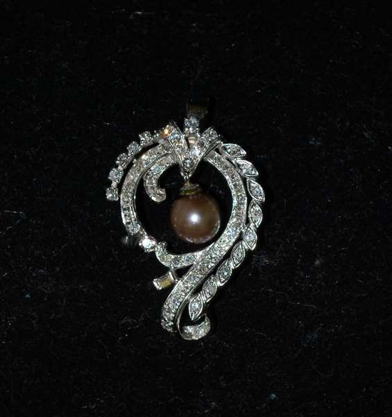 114: 14KT W.G. PEARL AND DIAMOND PENDANT 2.00CT