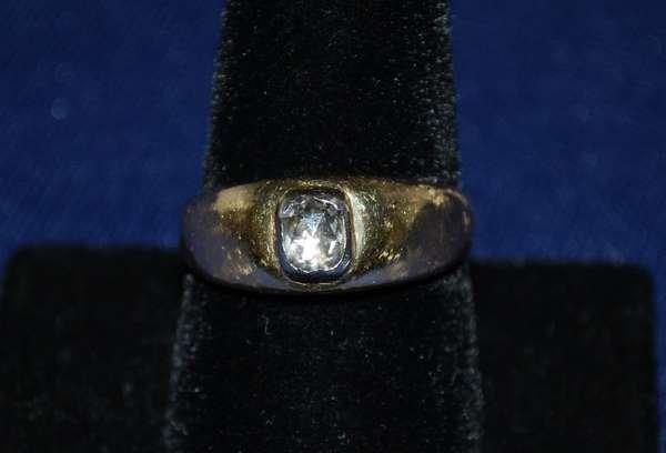 26: 14KT Y.G. MENS ROSECUT DIAMOND RING
