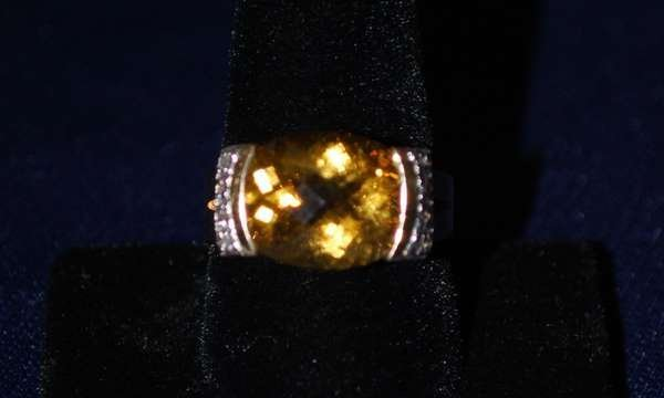 5: 14KT Y.G. CITRINE AND DIAMOND RING
