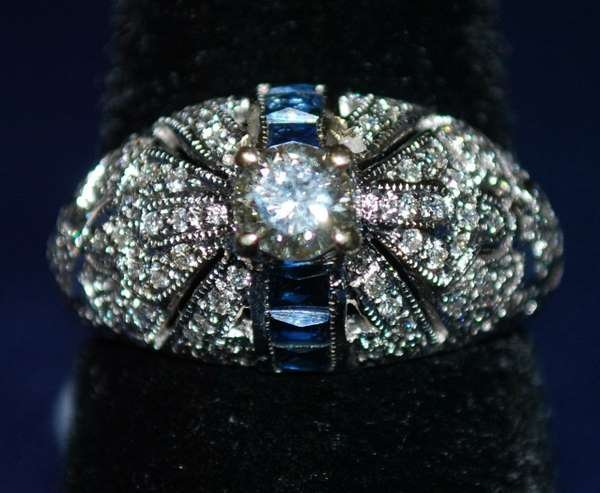 8: 18KT W.G. SAPPHIRE AND DIAMOND RING 1.35CT