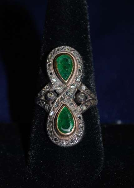 2: 18KT 2TONE VICTORIAN EMERALD AND DIAMOND RING