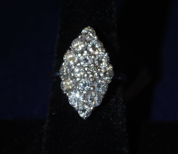 13: 14KT W.G. 4.00CT DIAMOND CLUSTER RING
