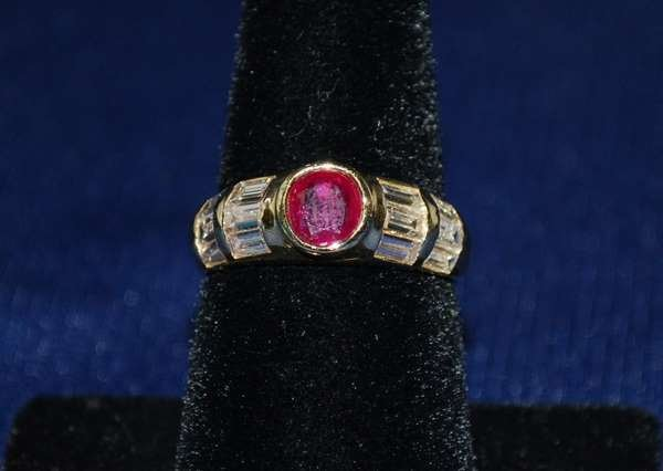 1: 18KT Y.G. RUBY AND DIAMOND RING