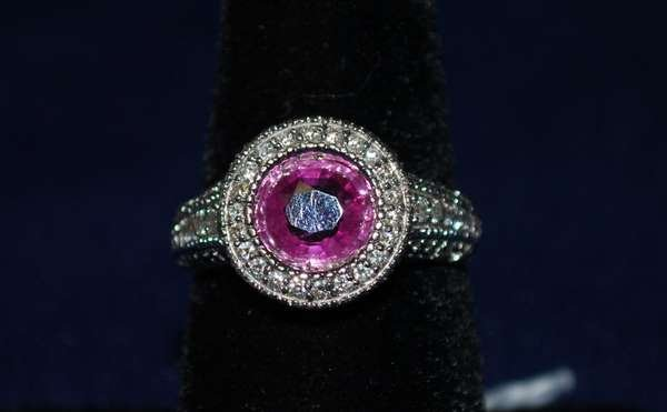 17: 18KT W.G. 4.00CT SAPPHIRE AND DIAMOND RING