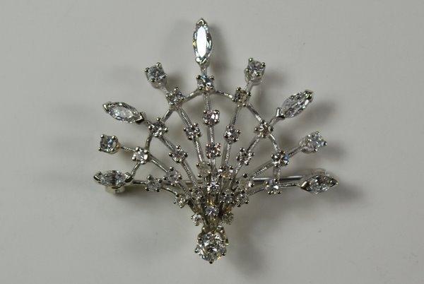 5: 14KT W.G. 1.75CT ART DECO DIAMOND PENDANT/ PIN