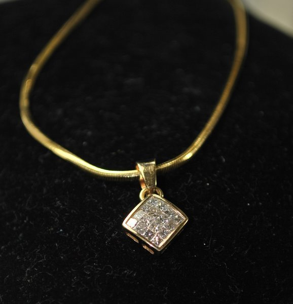 2: 14KT Y.G. .50CT DIAMOND PENDANT