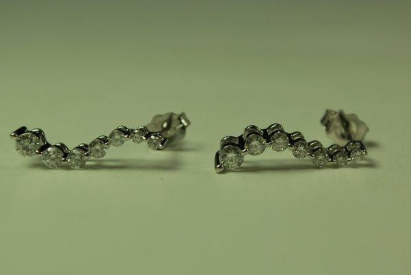 3: 14KT W.G. DIAMOND EARRINGS .50CT