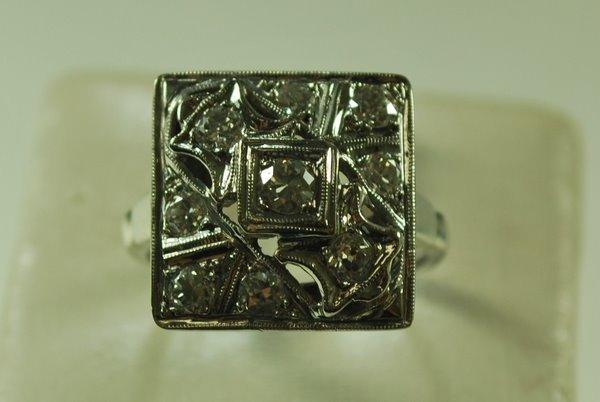 4: 14KT W.G. ART DECO DIAMOND RING  1.00CT