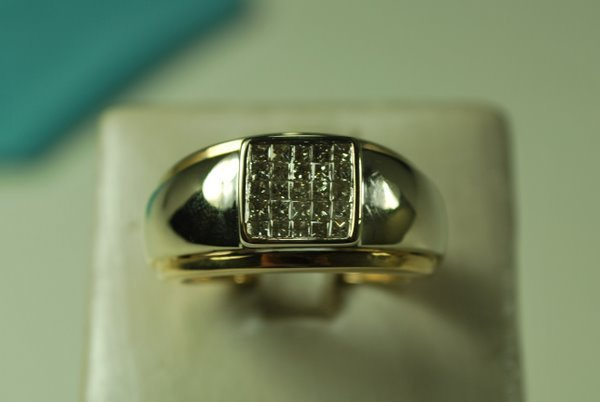 5: MENS 14KT 2 TONE PRINCESS DIAMOND RING