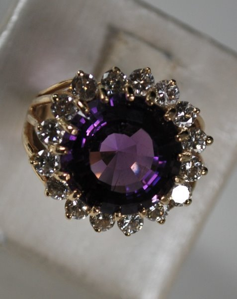 72: 14KT Y.G. 14.00CT AMETHYST AND DIAMOND RING