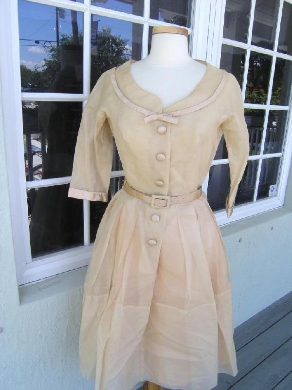 12: VINTAGE 1920'S-1930'S SATIN PARTY DRESS ANTIQUE