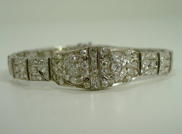 2: PLATINUM ART DECO DIAMOND BRACELET 5.00CT