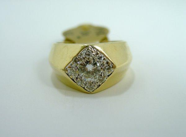5: MENS 14KT Y.G. .75CT DIAMOND RING