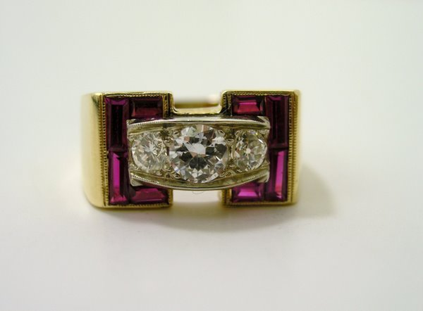 15: MENS 14KT Y.G. RETRO RUBY AND DIAMOND RING
