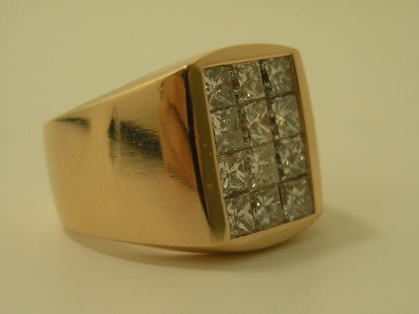 7: MENS 18KT PINK GOLD 3.00CT DIAMOND RING