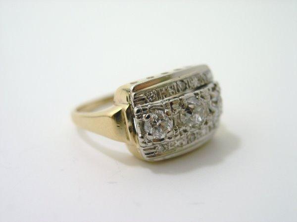 9: 10KT 2 TONE ART DECO DIAMOND RING .70CT