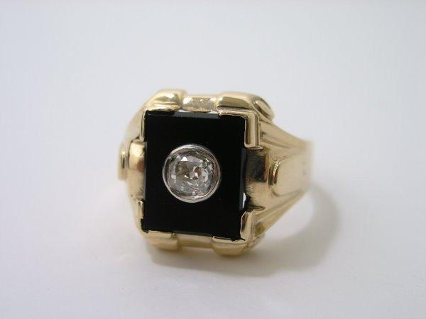 18: MENS 10KT ART DECO DIAMOND RING .40CT