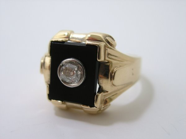 18: MENS 10KT ART DECO DIAMOND RING .40CT - 4