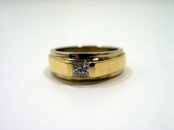 5: MENS 14KT Y.G. PRINCESS DIAMOND RING
