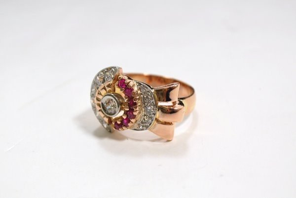 10: 18KT P.G. RETRO RUBY AND DIAMOND RING