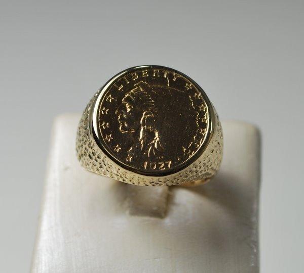 9: MENS 14KT Y.G. $2.50 DOLLAR COIN RING
