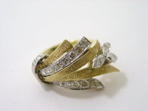 22: 18KT 2 TONE DESIGNER STYLE DIAMOND RING 1.50CT