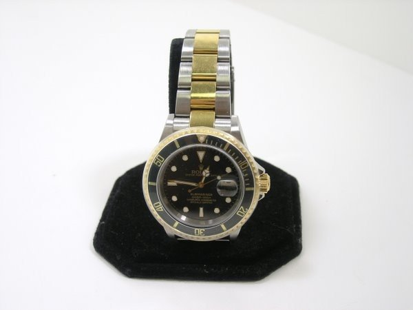 12: ROLEX TWO TONE SUBMARINER BLACK BEZEL & DIAL WATCH