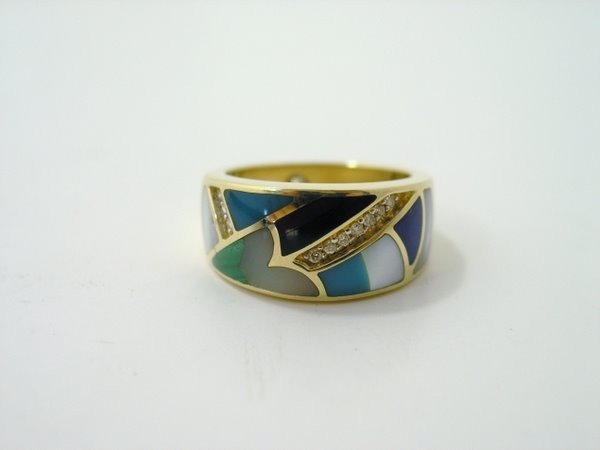 6: 14KT Y.G. ENAMEL AND DIAMOND BAND